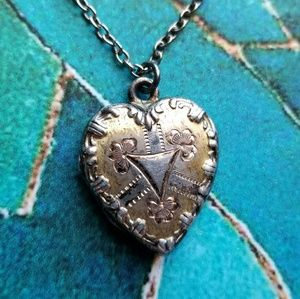 Vintage heart locket shabby silver tone necklace